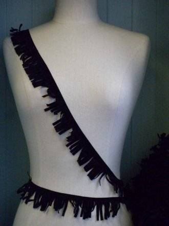 Jet Black Suedette Fringe Trimming