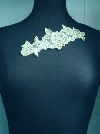 Lime Green Sequin Beaded Neck Appliqué