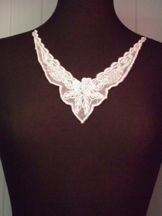 Beaded Sequin Neck Piece- Cream EM132 CRM