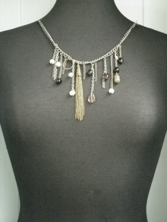 Antique Gold Beaded Neck Display