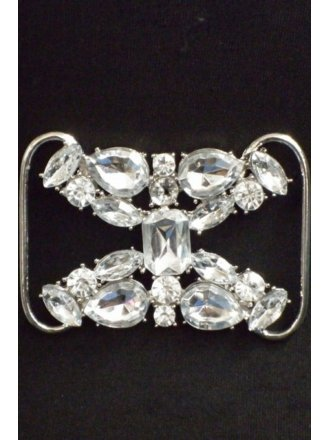 Clear Silver Rhinestone Belt Buckle