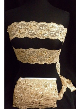 Lace Sequin Stretchy Trim- Gold Sand SY161