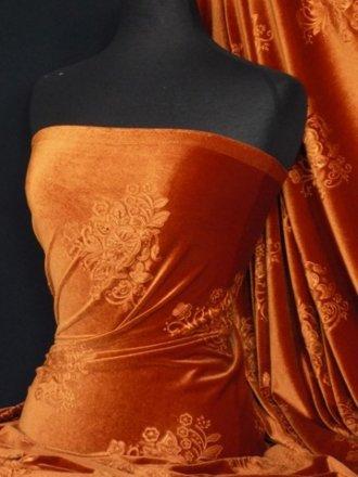 Velvet Spandex Fabric- Rust Orange Embossed Q978 RSTOR