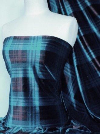 Velvet Spandex Fabric- Teal Blue/Red Tartan Q979 TLRD