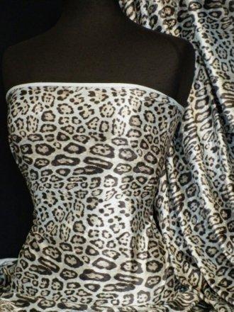 Pastel Blue Leopard Crushed Velvet/Velour Stretch Fabric