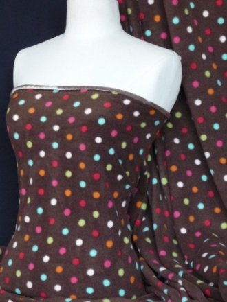 Polar Fleece Anti Pill Washable Soft Fabric- Brown Multi Polka Dots Q863 BR