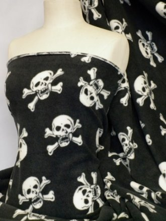 Polar Fleece Anti Pill Washable Soft Fabric- Black/White Skulls Q1082 WHTBK
