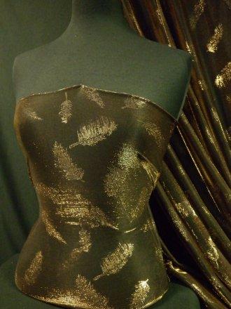 Metallic Sheer Shimmer Fabric- Black/ Bronze Feather BKBNZ