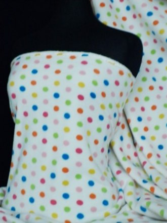 Polar Fleece Anti Pill Washable Soft Fabric- Cream/Multi Polka Dots Q863 CRMLT