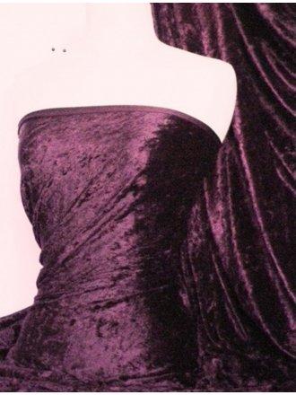 Crushed Velvet/Velour Stretch Material- Aubergine Q156 AUB