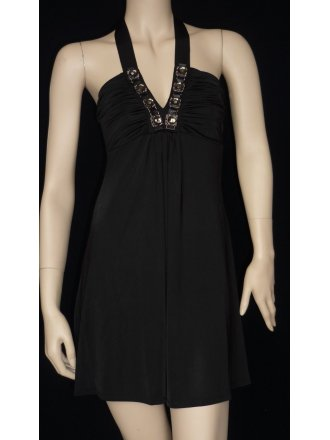 Little Black Embellished Halter-Neck Dress