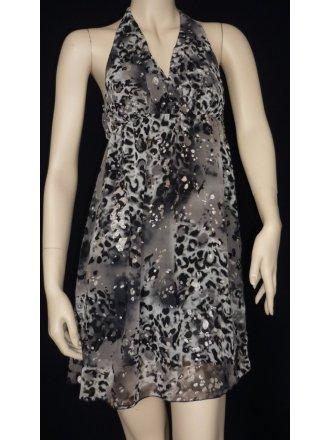 Leopard Grey Glitter Halter-Neck Dress