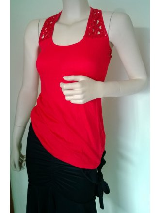 Sequin Racer-Back Red Vest Top