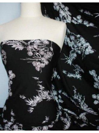 Lycra Viscose Cotton Stretch Lycra Fabric- Black/ White Japanese Garden Q1153 BKWHT