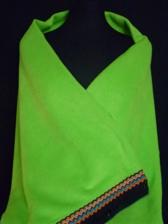 Lime Green Polar Fleece Shawl With Aztec Fringe Trim