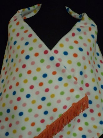 Cream/ Multi-Coloured Polka Dots Polar Fleece Shawl With Tassel Trim