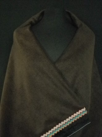 Brown Polar Fleece Shawl With Aztec Fringe Trim