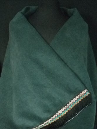 Bottle Green Polar Fleece Shawl With Aztec Fringe Trim