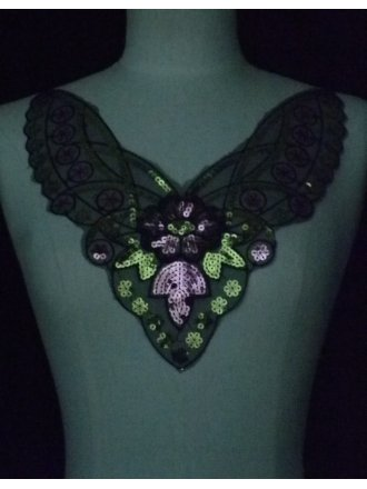 Black With Multi-Coloured Sequin Net Neck Piece
