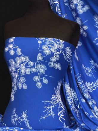Lycra Viscose Cotton Stretch Lycra Fabric- Royal Blue/White Japanese Garden Q1153 RBLWHT