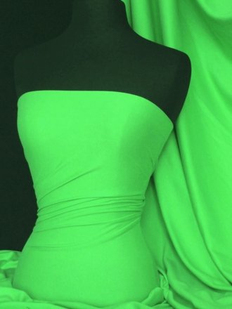100% Cotton Interlock Knit Soft Jersey T-Shirt Fabric- Lime Green Q60 LMGR
