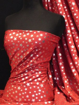 100% Cotton Interlock Knit Soft Jersey T-Shirt Fabric- Silver Stars On Red Q838 RD