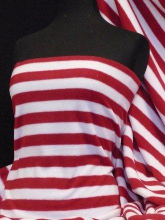 Polar Fleece Anti Pill Washable Soft Fabric- Red White Stripe Q1126 RDWHT