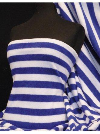 Polar Fleece Anti Pill Washable Soft Fabric- Royal Blue Stripe Q1126 RBLWHT