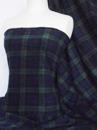 Polar Fleece Anti Pill Washable Soft Fabric- Blue/Black/Green Tartan Q1127 BLBK