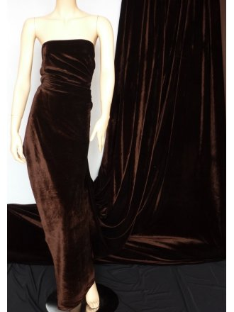 Clearance Velvet/Velour Stretch Spandex Lycra Fabric- Chocolate Q1174 CHO