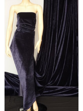 Clearance Velvet/Velour Stretch Spandex Lycra Fabric- Navy Q1174 NY