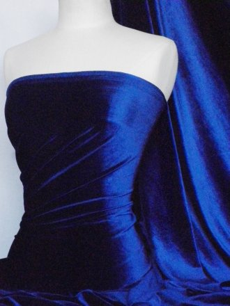 Velvet /Velour 4 Way Stretch Spandex Lycra- Electric Blue Q559 ELCBL