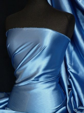 Super Soft Satin Fabric- Mid Blue Q710 MDBL