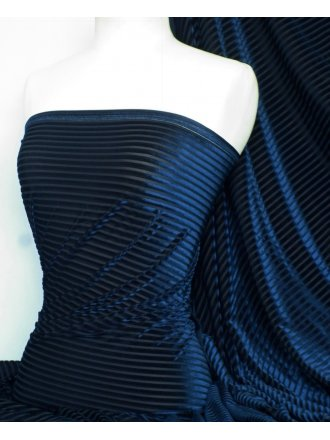 Velvet / Velour Burnout Stripe 4 Way Stretch Spandex Lycra- Navy Q1175 NY