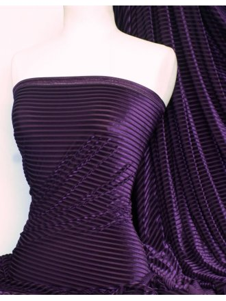 Velvet / Velour Burnout Stripe 4 Way Stretch Spandex Lycra- Purple Q1175 PPL