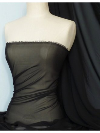 Silky Chiffon Sheer Fabric Material- Black Q727 BK