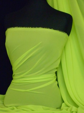 Chiffon Soft Touch Sheer Fabric Material- Lime Green Q354 LMGRN