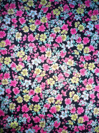 Poly Viscose Light Weight Sheer Fabric- Pink/Yellow Ditsy Q1198 PNY