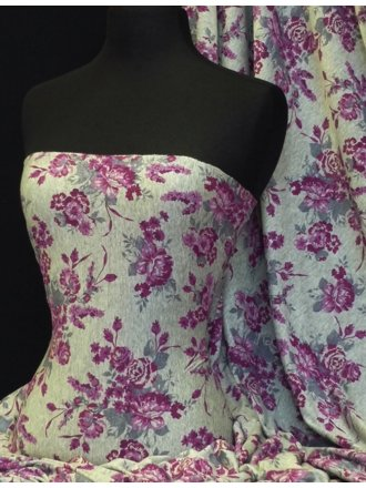 100% Viscose Stretch Fabric- Magenta/Grey Vintage Floral Q733 MGTGR