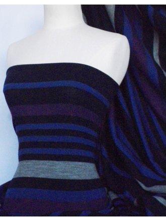 Stripe Sweater Knit Acrylic Soft Knitwear Fabric- Royal Blue Horizontal Q1201 RBL