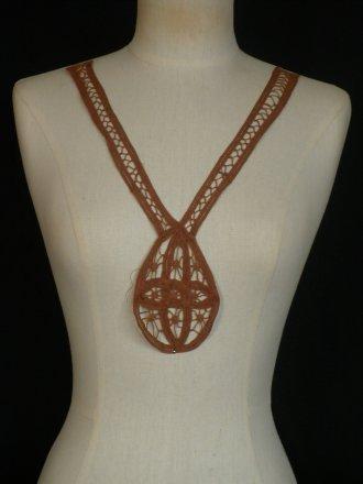 Cotton Crochet Neck Piece- Copper Brown EM356 CPBR
