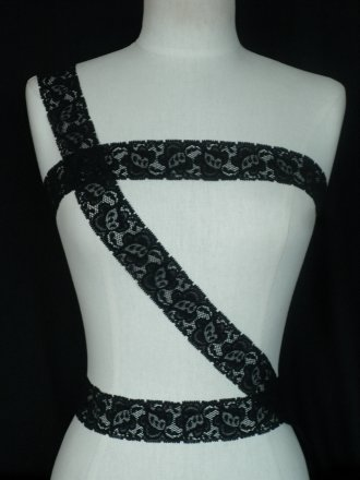 Black Floral Lace Stretch Trim