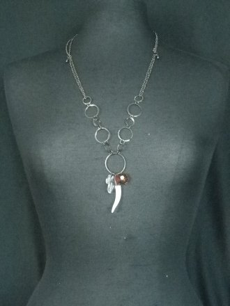 Gun Metal Silver Chain Beaded Necklace