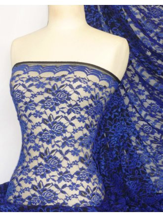 Rose 4 Way Stretch Lace Lycra Fabric- Electric Blue/Black Q1248 EBLBK