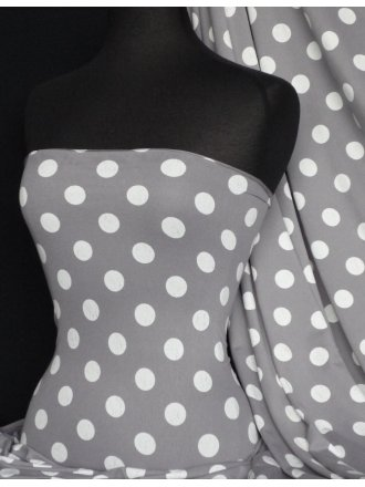 Viscose Cotton Stretch Polka Dots Lycra Fabric- Grey/Cream Q599 GRCRM