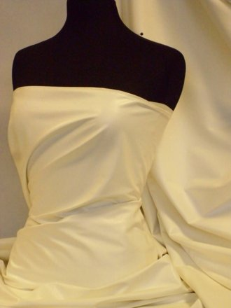 Leatherette Fabric PVC Semi Wet Look Stretch Material- Ivory PV122 IV