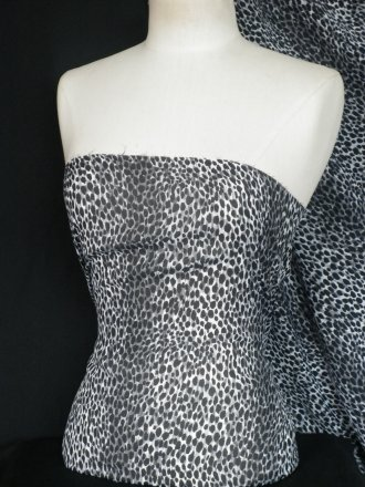 Chiffon Soft Touch Sheer Fabric- Black/Grey Leopard Q1253 BKGR