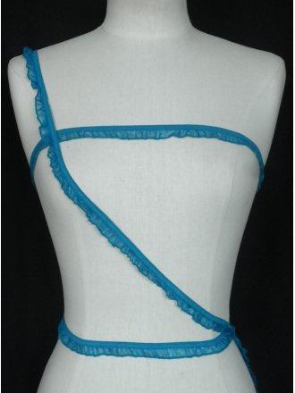 2 Metres Turquoise Blue Ruffle Organza Trim