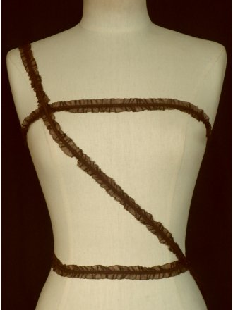 2 Metres 2 Sided Rich Chocolate Ruffle Organza Trim