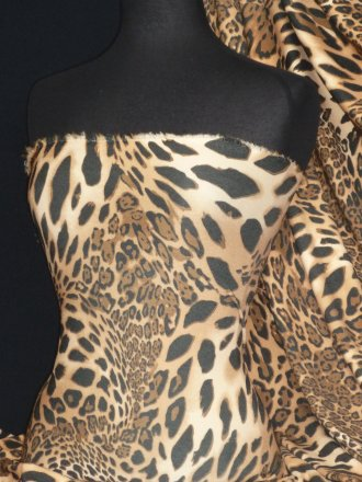Crepe 4 Way Stretch Jersey Fabric- Leopard Camel Q1227 BKCML